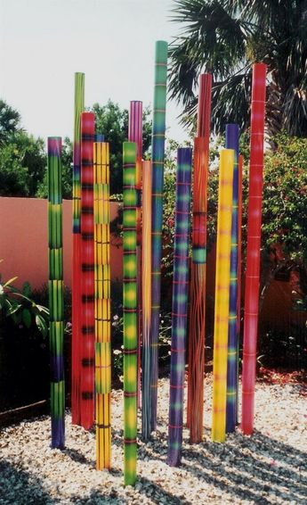Painted Poles Garden Sculptures