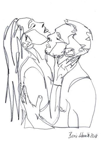 """Kiss 56"", continuous line drawing by Boris Schmitz Instagram: @ borisschmitz"