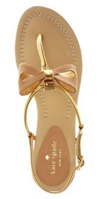 Kate Spade Nude and Gold Bow Sandals