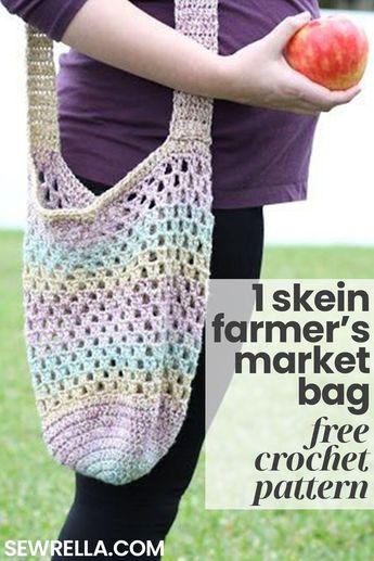 1 Skein Crochet Farmer's Market Bag
