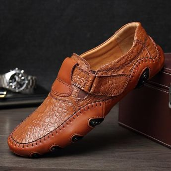 Luxury Casual Shoes Men Loafers Genuine Leather Flat Slip On High Quality Designer Casual Shoes