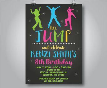 jump birthday invitations trampoline invitation neon g