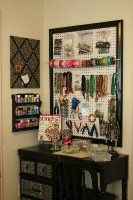 Vanity area ideas -- organize jewelry/makeup
