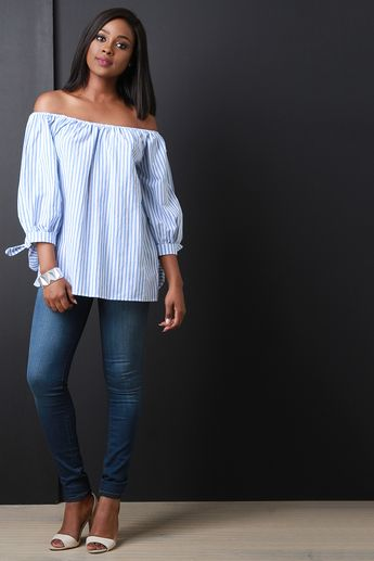 Free SH & Easy Returns! Shop Striped Off The Shoulder Tie Sleeve Top. This easy summer top features an elastic off the shoulder neckline, three quarter sleeve with self tie cuffs, lightweight woven fabrication, stripe pattern and a loose boxy fit.