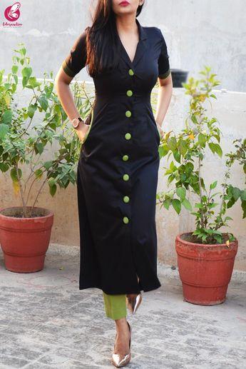 Black & Green Cotton Silk Kurti with Green Stripes Cotton Silk Pants