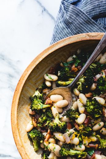 Great Northern Beans Recipe with Roasted Broccoli and Bacon