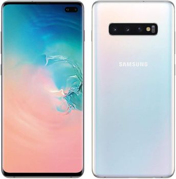 "Samsung Galaxy S10+ Plus 128GB+8GB RAM SM-G975F/DS Dual Sim 6.4"" LTE Factory Unlocked Smartphone International Model No-Warranty (Prism White)"