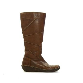 1a5ccf218cd5f Sz 8 M Vintage Tall Brown Genuine Leather 1970s Women Pull