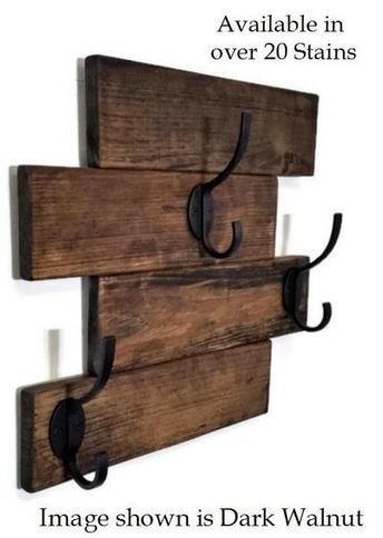 Farmhouse Horizontal Hanging Plank Coat Rack with 3 Heavy Duty Double Hooks: Available in 20 Colors – Wall Mount Coat Rack – Rustic Home Decor – Wall Hooks
