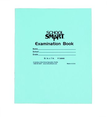 School Smart Sulphite Paper Examination Blue Book, 7 X 8-1/2 in, 15 lb, 32 Sheets, White Paper, Blue Cover, Pack of 50