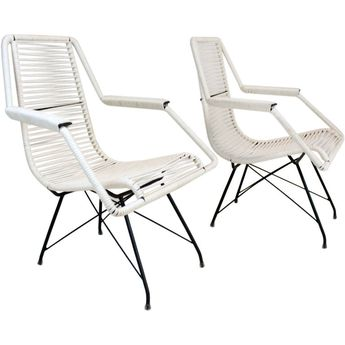 Pair of Iron and Cord Lounge Chairs by Martin Eisler