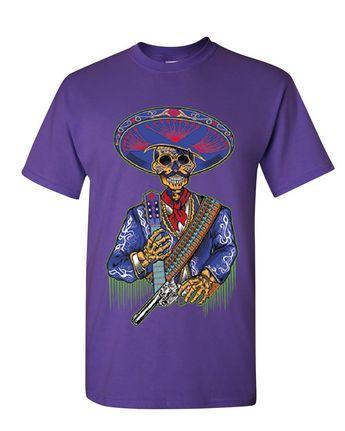 beaf2ec7d Charro Sugar Skull T-Shirt Mexican Calavera Dia de los Muertos Mens Tee  Shirt