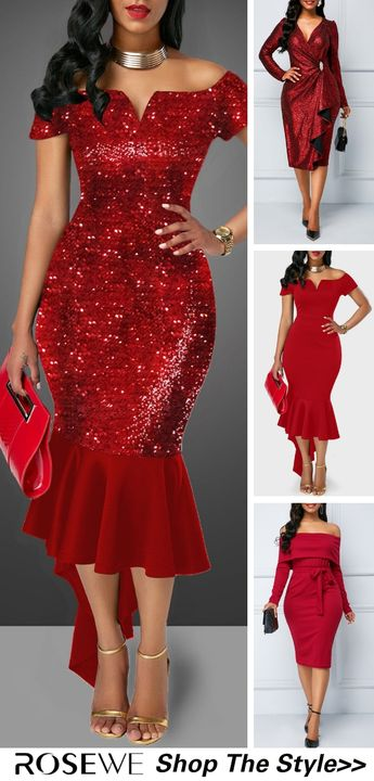 Wine Red Off the Shoulder Sequin Embellished Sheath Dress
