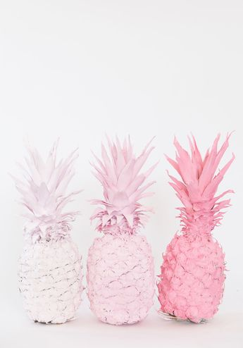 DIY Ombre Pink Spray Painted Pineapples