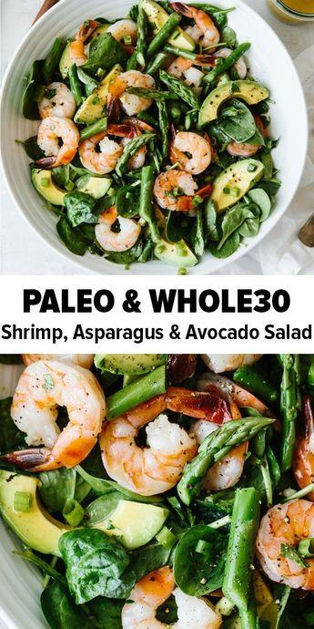 Salade de crevettes, asperges et avocat  #asperges #avocat #crevettes #salade