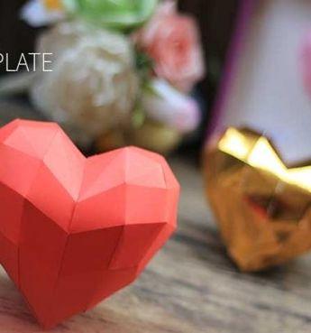 DI)Y 3D paper heart (free printable template) // 3D Szívecske papírból (ingyenes nyomtatható sablonnal) // Mindy - craft tutorial collection // #crafts #DIY #craftTutorial #tutorial