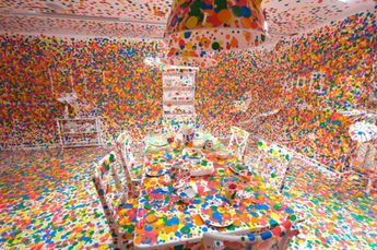 Live in colorful room Obliteration room by Yayoi Kusama