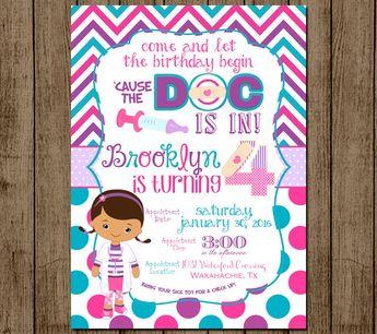 Doc McStuffins Birthday Invitation Invite Polka Dot Chevron Party Girl 1st 2nd 3rd 4th 5x7