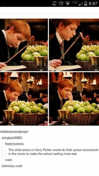 Actual schoolwork in Hogwarts. Maths, definitely maths! - Harry Potter funny