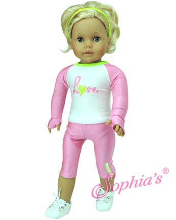 """Neon Pink & Lime Workout Crops w/ Love Long Sleeve Stretch T for 18"""" dolls"""