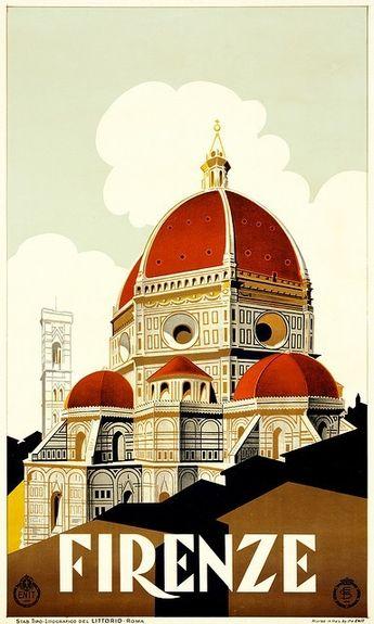 vintage travel poster - firenze             I love fireze