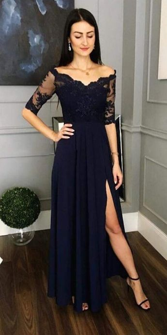 Half Sleeves Side Slit A Line Navy Lace Prom Party Dresses