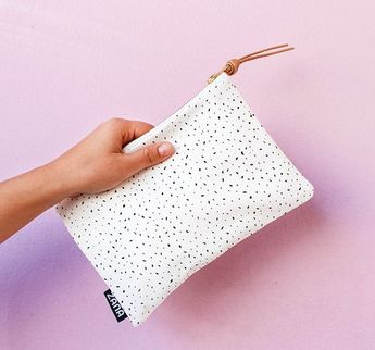 Spots Fabric   Leather Pouch - Leather clutch 450a0b2390420