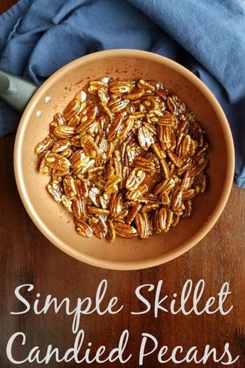 Candied pecans made quickly in a skillet on the top of the stove are simple way to elevate so many dishes. They are great on their own too! #ad #Farberware #giveaway #easyrecipe milyCooks #easy