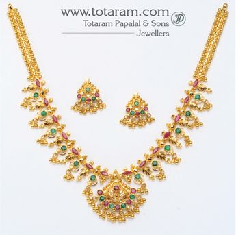 ecfcd36e45 22K Gold Ruby Necklace & Drop Earrings set: Totaram Jewelers: Buy Indian Gold  jewelry