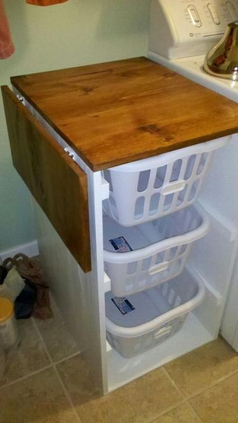 Laundry basket organizer with flip lid for folding. Great idea for a small space! by proteamundi