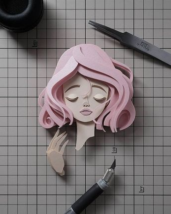 Elegant paper craft face