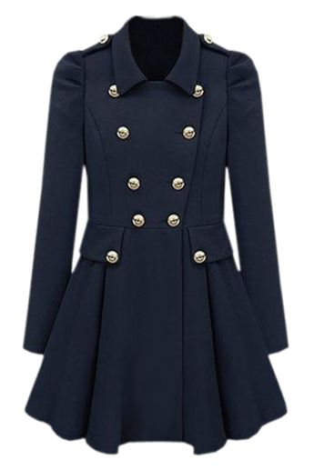 Cool Look Pleats Blue Trench Coat