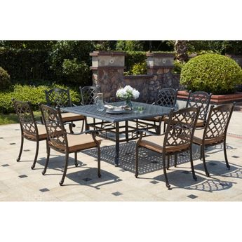 home styles malibu cast aluminum black 7 piece outdoor din