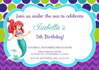 The Little Mermaid Invitation Ariel Disney Princess Kids Birthday Party Invite