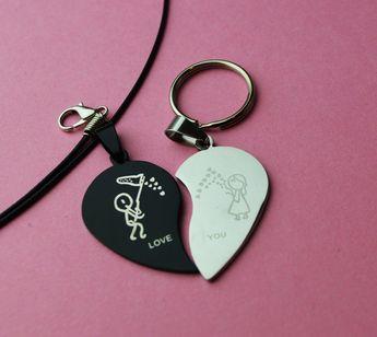 Split heart couples jewelry - accessory