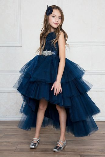 Girls Layered High Low Dress with Lace Bodice by Calla TY004