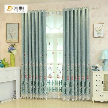 DIHIN HOME Elegant Flowers Embroidered Green Valance ,Blackout Curtains Grommet Window Curtain for Living Room ,52x84-inch,1 Panel
