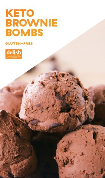 These Keto Brownie Bombs are like eating brownie batter RIGHT off the spoon. Get the recipe at Delish.com. #recipe #easy #easyrecipes #chocolate #keto #ketogenic #ketodiet #ketorecipes #glutenfree #glutenfreediet #glutenfreerecipes #dessert #dessertrecipes