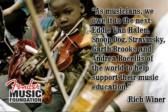 """""""As musicians, we owe it to the next Eddie Van Halen, Snoop Dog, Stravinsky, Garth Brooks, and Andrea Bocellis of the world to help support their music education.""""-Rich Winer"""