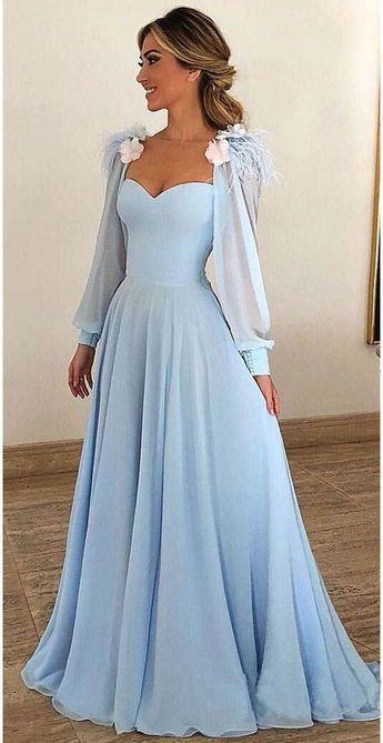 Sky Blue Lange Chiffon Ballkleider mit Ärmeln Abendkleider PG803  #Abendkleide