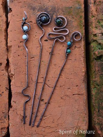 Hair stick metal Copper hair pin Wire wrapped hair sticks Sodalite hairstick Malachite hair pin Prehnite hair fork Volcanic lava hair sticks