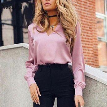 Long Sleeve Office Elegant Silk Blouse