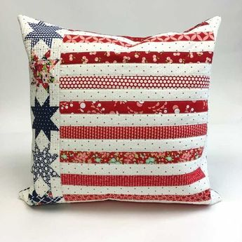 Red, white and blue quilted pillow