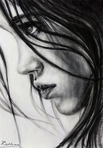 Study of a young woman's profile - pastel on paper by Allison Rathan