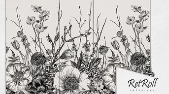 Black Meadow - removable wallpaper, design, wall covering, reusable, black, sketch, nature, print, white, fashion, repeat, subtle #87