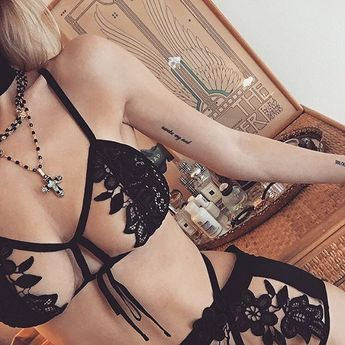 Lovely little lace and appliqué details on the Lucia Bra and Panty Set  Shop with link in bio. #ForLoveAndLemons #DownToYourSKIVVIES
