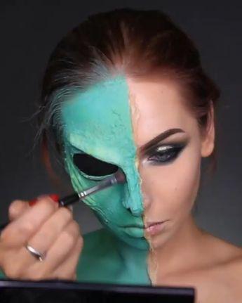 Alien: Mehron Paradise Makeup AQ: Light Green, Teal, Light Blue, Lime and Black, ABH Aurora glow kit Helia Kryolan Latex  | Right Side: • Eyes: Morphe Jaclyn Hill pallet: Pukey, Enchanted, Dive Stila Gold Goddess UD 24/7 eye pencil Perversion • Lashes: Huda Beauty Scarlett • Lips: MUFE Lipsticks Liquid Matte 207, Metallic Matte 101 #alien #alienmakeup #makeup #halloween #halloweenmakeup #makeuptutorial #anastasiabeverlyhills #morphe #hudabeauty