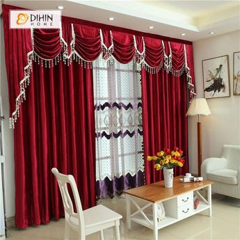 DIHIN HOME Solid Red and Decoration Embroidered Valance ,Blackout Curtains Grommet Window Curtain for Living Room ,52x84-inch,1 Panel #livingroomdecorcurtains