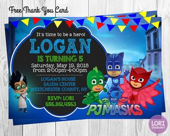 PJ Masks Invitation With Free Thank You Card InvitationBirthday Party