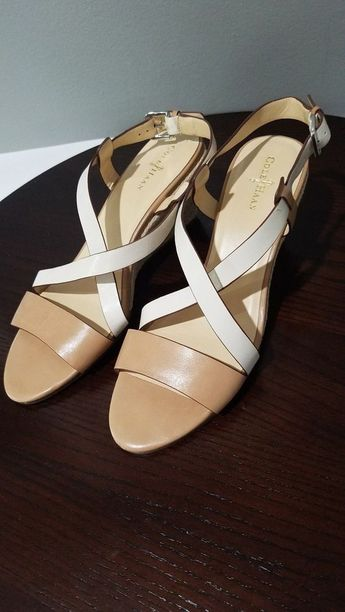 3c52f45e6db Details about COLE HAAN brown leather strappy wedge sandals size 8.5 B